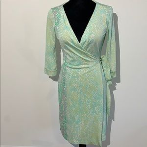 DVF snakeskin animal print seafoam silk wrap dress